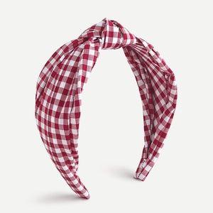 J.Crew Turban knot headband in gingham - Red